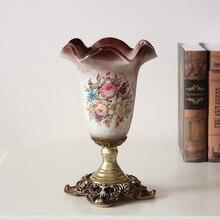 Jarrón con adorno floral de resina Vintage europeo de Navidad, decoración de mesa para salón, decoración creativa para el hogar