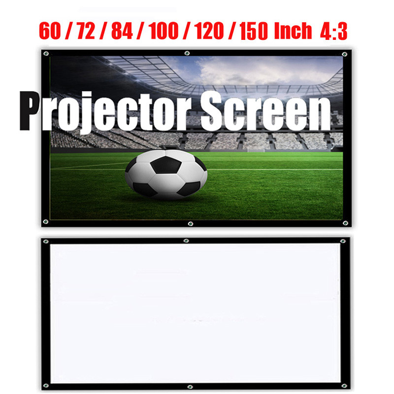 Portable HD 1080P Soft <font><b>Projector</b></font> <font><b>Screen</b></font> Matt White 4:3 <font><b>Projector</b></font> <font><b>Screen</b></font> Movie Cloth 60 72 84 100 120 <font><b>150</b></font> <font><b>Inch</b></font> For Home Theater image
