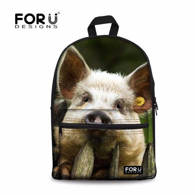 40d4aa66a0 FORUDESIGNS Fashion Children School Bags Cute 3D Animal Pig Printed Book  Bags for Teenage Boys Girls