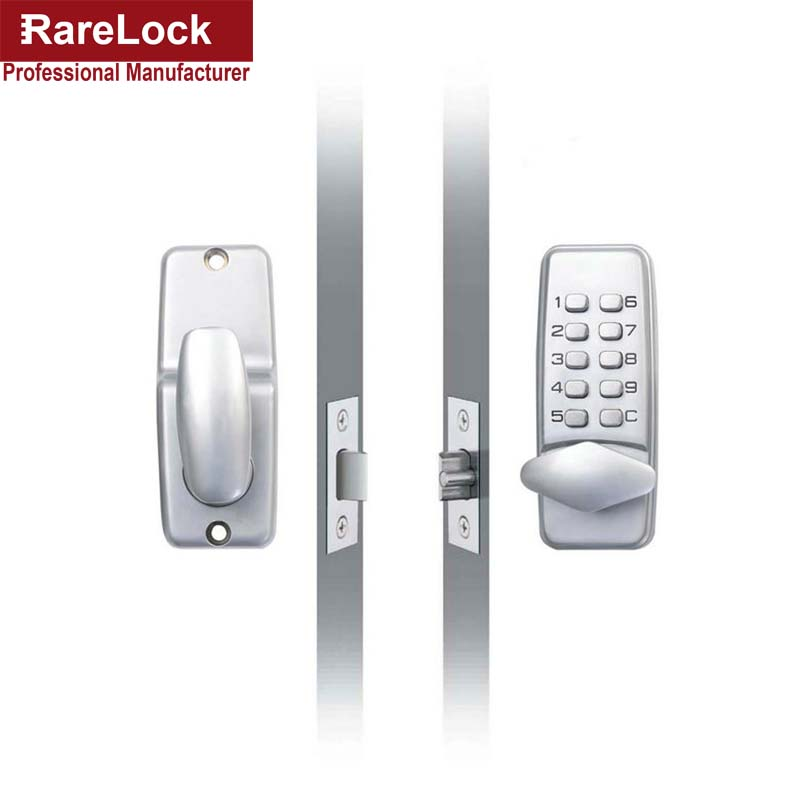 LHX Waterproof Mechanical Satin Chrome Locks Push Button Keyless Digital Numeral Deadbolt Coded Door Flat Office Lock a kwikset 85063 003 1x 2 1 4 satin chrome round corner deadbolt strike