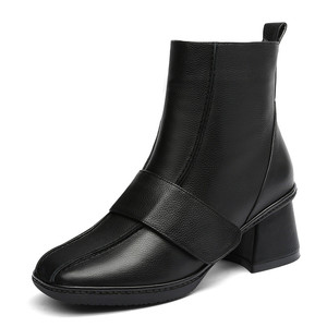 Image 2 - FEDONAS 2020 Genuine Leather Women High Heeled Ankle Boots Autumn Winter Chelsea Boots for Women Side Zipper Party Shoes Woman