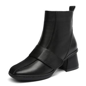 Image 2 - FEDONAS 2020 秋冬暖かい女性の膝のブーツ牛パテントレザーニットロングブーツ乗馬ブーツパーティー靴女性
