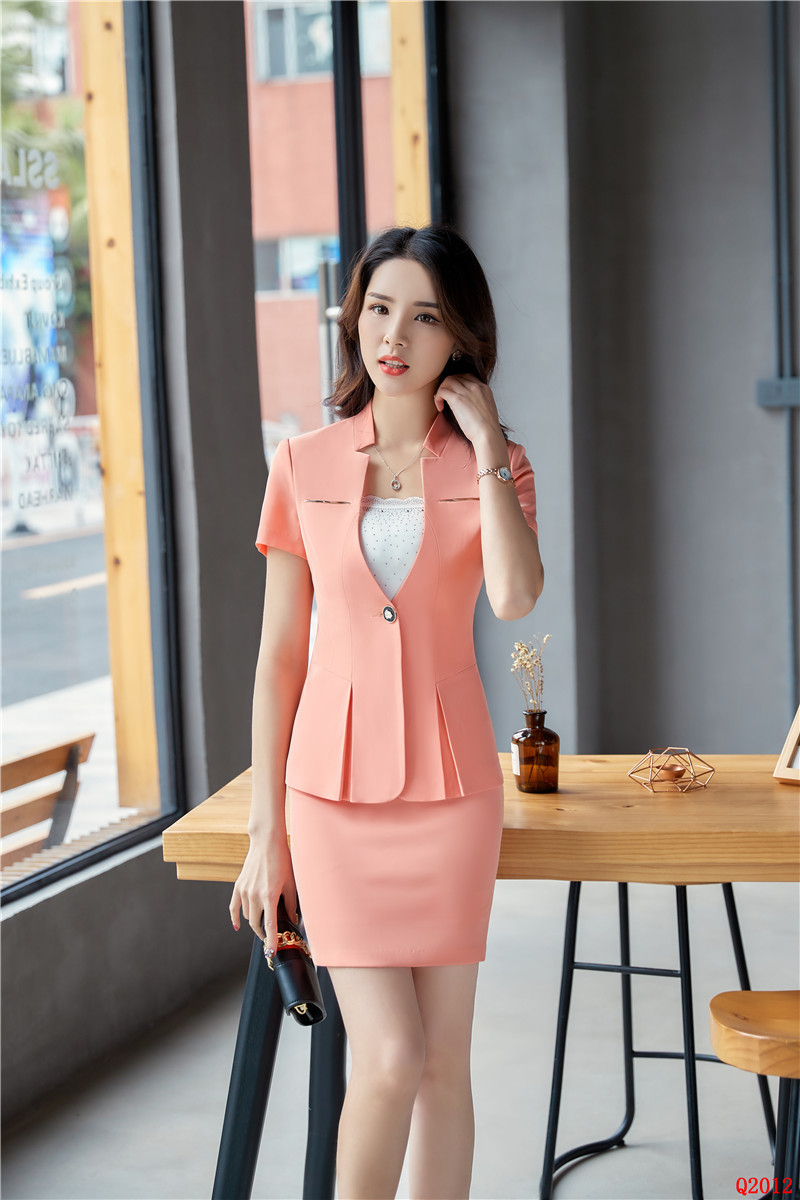 c70e14e26e1c 2019 New Style Summer Pink Blazer Women Business Suits With Skirt ...