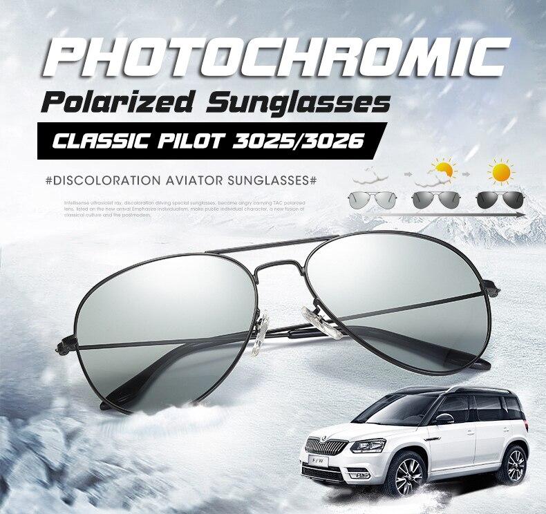 2019 Photochromic Chameleon Aviation Sunglasses Men Driving Polarized Sun Glasses Women Driver Safety Day Night Vision Glasses