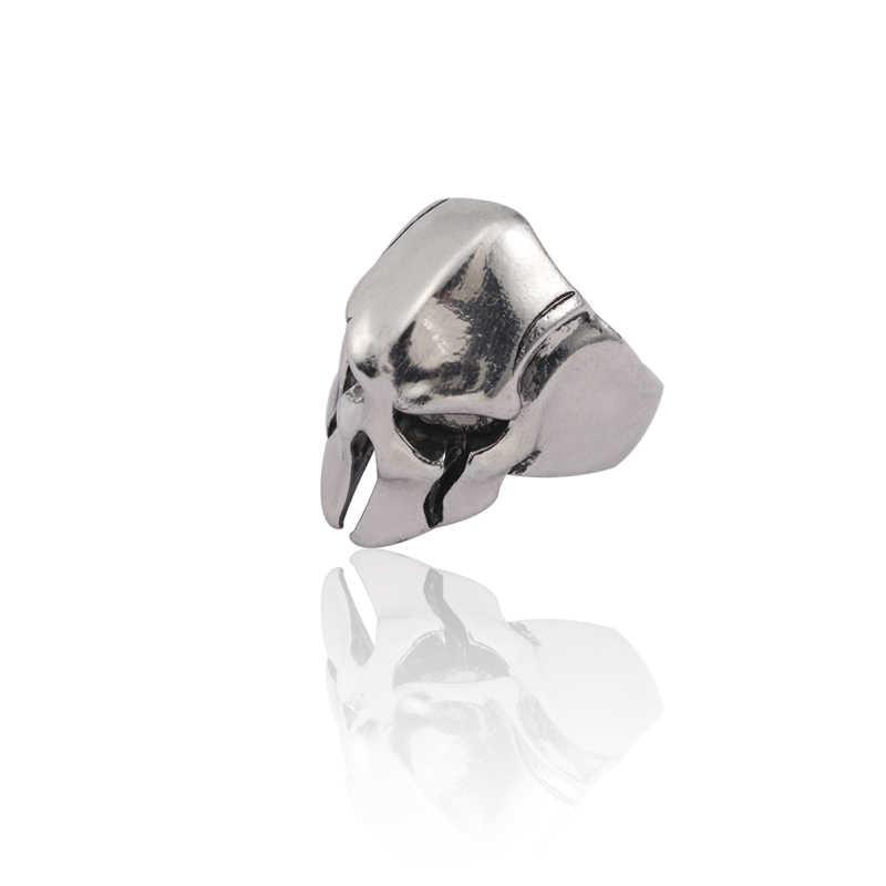 Punk Skull แหวนผู้ชาย Spartan Hero หน้ากากหมวกกันน็อกสำหรับชาย Vintage เงินชาย Cool Hip Hop แหวนเครื่องประดับบุรุษ