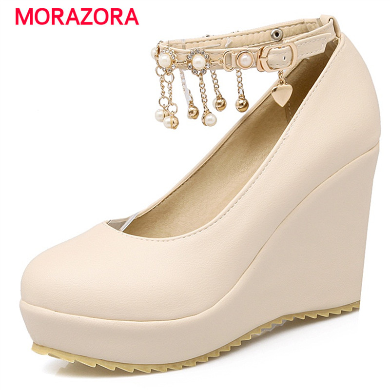 MORAZORA Wedges shoes shallow buckle party platform shoes big size 33-43 high heel 9.5cm solid pu women pumps sweet 2016 new wedges platform shoes with comfort women bowtie buckle casual shoes sweet solid pumps round toe large size shoes