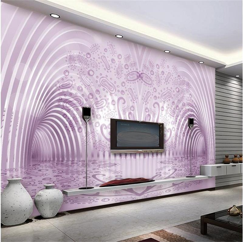 3d room photo wallpaper custom mural non-woven wall sticker Purple 3D space sofa TV background painting 3d wall murals wallpaper daikin ftx60kv rx60k