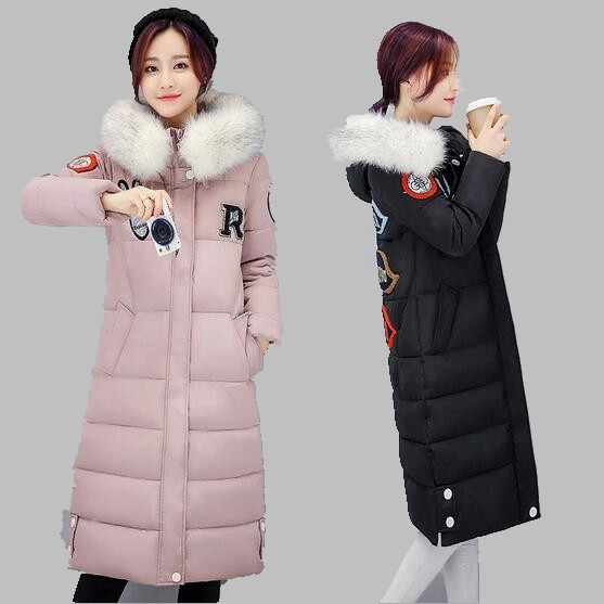 Women Winter Jacket 2016 Hooded Big hair collar Down Jacket Large size Casual Warm Thick Cotton Coat Medium-length Jacket AB169