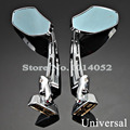 A Pair CNC Machined Aluminum With Chrome Finish Motorcycle Rearview Smoke Blue Mirrors For Honda Kawasaki Ninja Suzuki Yamaha