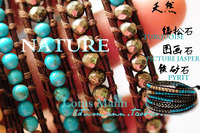 lotusmannTurquoise mineral yellow 5 wraps bracelet genuine leather rope bracelet