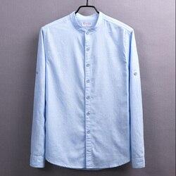 Frühling Und Sommer Männer Lange Ärmeln Leinen Hemd Jugendliche Stehen Kragen Schlank Leinen Shirts 2 Farben