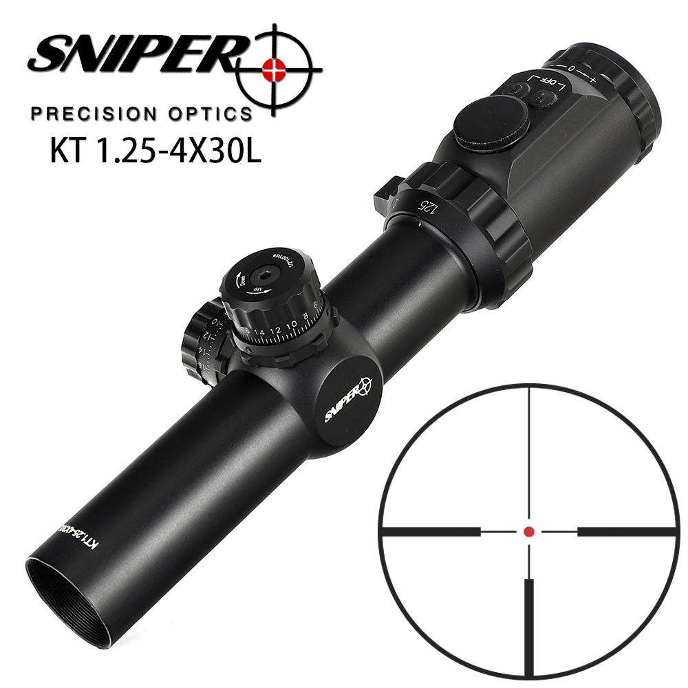 SNIPER KT 1.25-4X30L 35mm Tube Compact Tactical Sight R12 Glass Etched Reticle llluminated Turret Lock Reset Hunting Rifle Scope