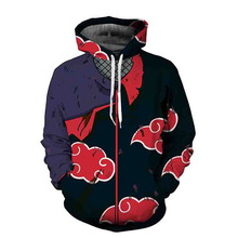 Naruto Cosplay Akatsuki Cloak Hoodie Anime Uchiha Itachi 3D Hooded Jacket