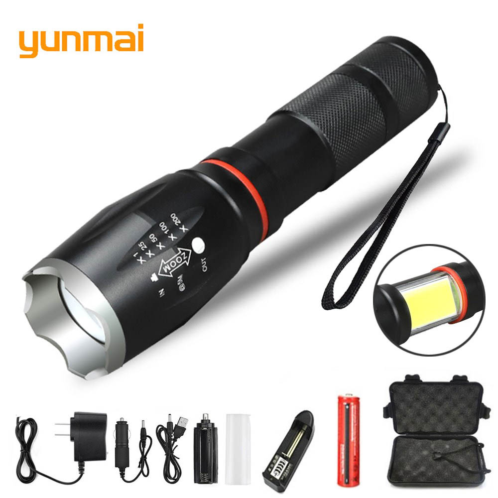 Yunmai New Multifunction Led Flashlight 8000 Lumens T6 Torch Hidden COB Design Flashlight Tail Super Magnet Design Camping Lamp