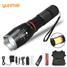 yunmai new Multifunction Led flashlight 8000 Lumens T6 torch hidden COB design flashlight tail super magnet design camping lamp panyue multifunction led flashlight 8000 lumens xml t6 l2 torch hidden cob design flashlight tail super magnet design