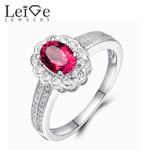 Leige Jewelry Ruby Engagement Ring July Birthstone Halo Gemstone Oval Cut 925 Silver Wedding Rings for Her Anniversary Gift