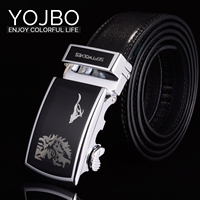 YOJBO 100 Real Genuine Leather Men Belt 2017 Fashion Brand Designer Black Automatic Alloy Buckle Straps