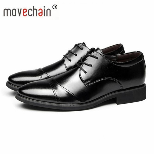 c0db516d7e9b US $24.36 30% OFF|Movechain Vintage Design Männer Echte Leder Business  Schuhe Mode Männer Anzug Kleid Casual Lace up Schuh UNS größe 6 13 EU 38 47  ...