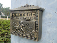 Vintage Decorative Cast Iron Mailbox Postbox Mail Box Wall Mounted Wrought Iron Letter Box Metal Garden