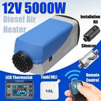 5KW 12 В автомобиля дизелей нагреватель стояночный отопитель люкс с ЖК дисплей термостат пульт дистанционного Управление Глушитель Синий чех