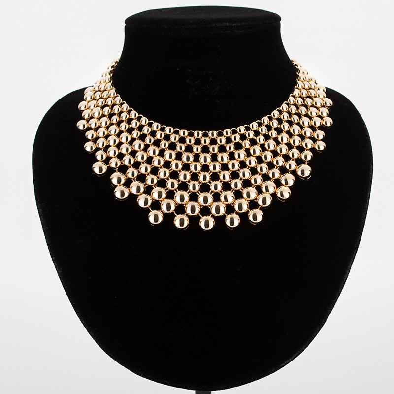 Hyperbole balls necklaces amp pendants for women gold/silver color zinc alloy female choker necklace collier femme MDJB159 women s fashionable rhinestone inlaid zinc alloy necklace golden