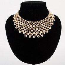 Mujeres hipérbole collar de aleación de zinc de oro/plata plateó bolas collares amp colgantes collar de mujer femenina collier femme MDJB159