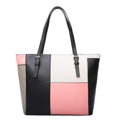 Fashion Top-handle Bag for Women 2018 New Ladies Colorful Large Tote Bag Female Cross Pattern Patchwork Handbags Blue Pink B084