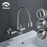 Brushed Nickel Stainless Steel Bathroom Faucet Swivel Spout 2 Functions Outlet Water Mixer Tap 2 Holes