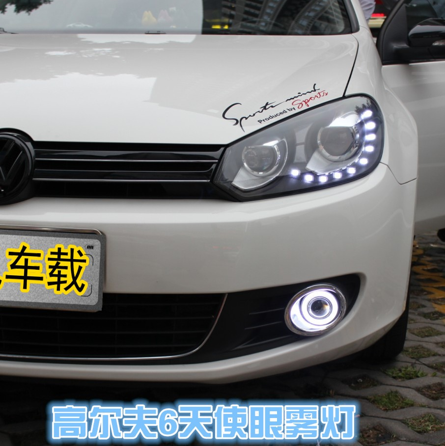 eOsuns Innovative COB angel eye led daytime running light DRL + halogen Fog lamp+ Projector Lens for volkswagen VW golf 6 MK6 螺旋不止美丽