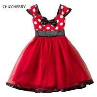 Vestido Минни в горошек Красный Рождество Новый год костюмы для платья для девочек, Q002 праздничная и Свадебная детская одежда Костюмы