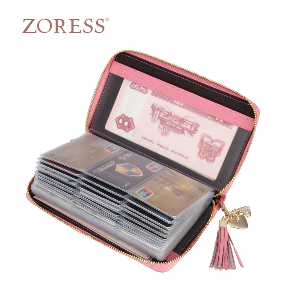 ZORESS Genuine Leather Women Card Holder wallet Women Credit Card Bank/ID Card Wallets Fashion Long Wallet High Quality 60 Slots цена