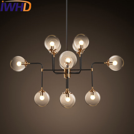IWHD Modern LED Pendant Lamp Fashion 12 Heads Glass ball Pendant Light Fixtures Bedroom Home Lighting Iron Suspension Luminaire iwhd 3 heads iron hang lights led pendant light fixtures fashion wood modern pendant lamp kitchen bedroom e27 220v for decor