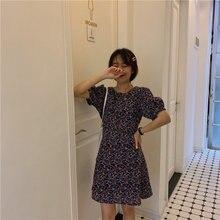 Alienígena Kitty Chic de la pradera de verano de 2019 las mujeres dulces Simple Slim fresco de manga corta cintura alta Casual o-Cuello del todo-fósforo Mini vestido