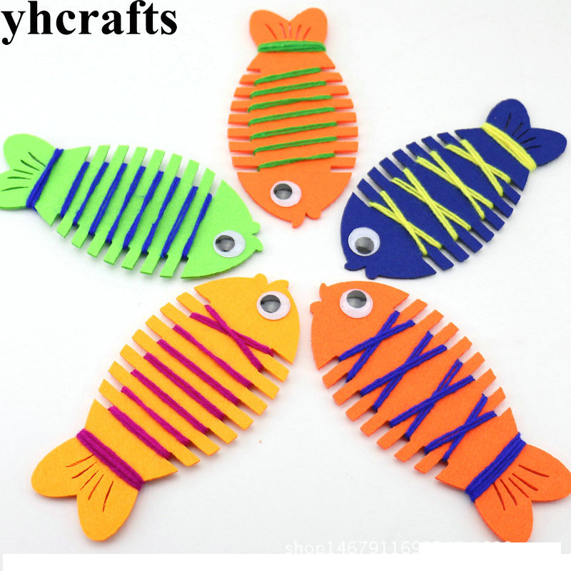 5PCS/LOT.Lacing fabric fish Chidren thread embroidery Early head training Easy DIY toys Kindergarten crafts Wholesale OEM