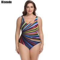 Riseado 3XL Plus Size Swimwear Women One Piece Swimsuit 2017 New Striped Backless Monokini Female Bathing