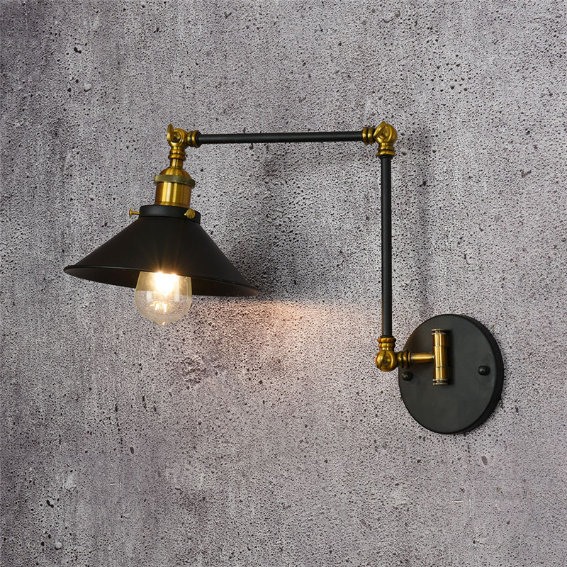 Loft Style Industrial Vintage Wall Lamp Fold Edison Wall Sconce Adjustable LED Wall Light Fixtures Indoor Lighting Lampara loft style edison decorative wall sconce mirror wall light fixtures vintage industrial lighting wall lamp for home lampara
