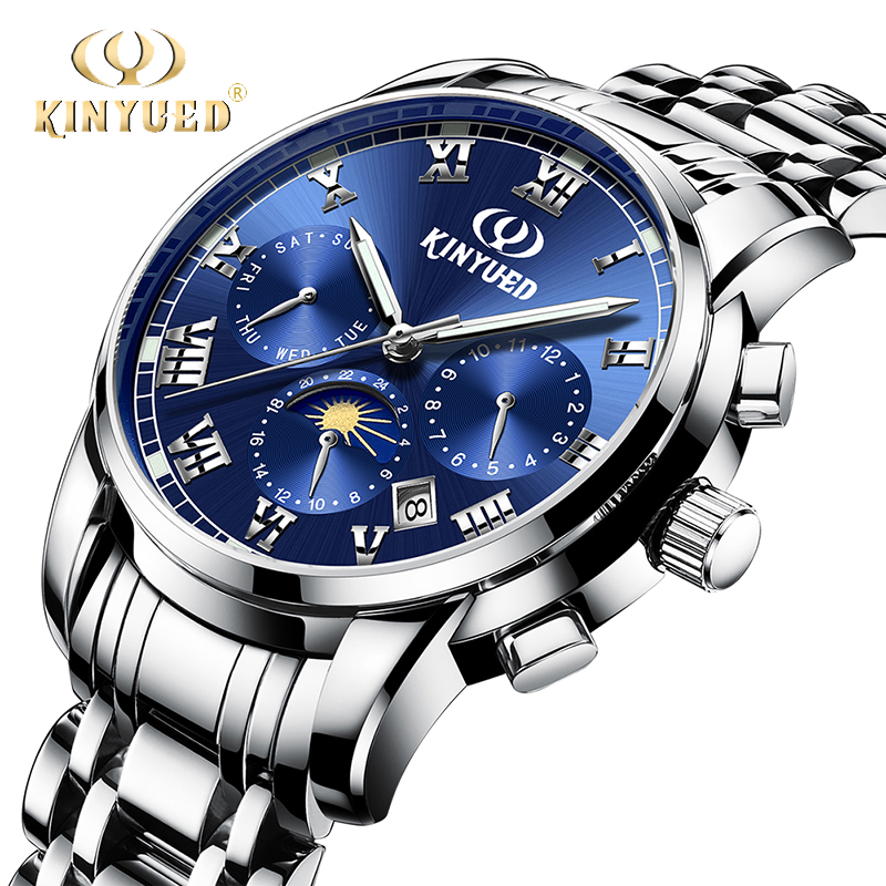 KINYUED Mens Watches Steel Business Luxury Automatic Mechanical Watch Men Waterproof Sport Moon Phase Relogio Masculino