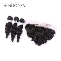 Loose Wave Human Hair Bundles with Frontal Brazilian Human Hair Weave Remy Hair Extensions Lace Frontal Natural Color