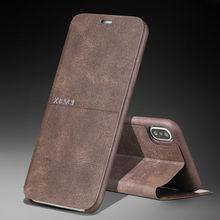 Dla iPhone 11 Pro XS Max XR X 7 8 Plus ekstremalna Retro luksusowa skórzana podstawka Slim etui z klapką