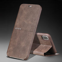 עבור iPhone 11 פרו XS Max XR X 7 8 בתוספת קיצוני רטרו יוקרה עור Stand Slim Flip Case כיסוי