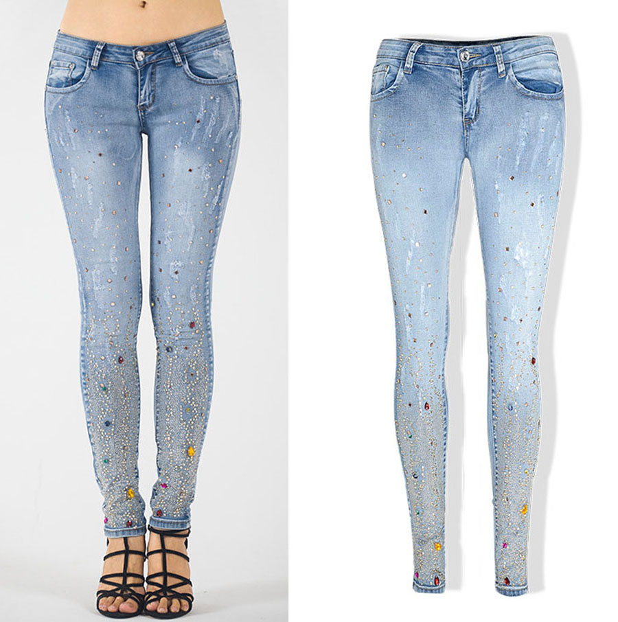 2016 New Arrival Autumn and Winter Women Slim Long Low Waist Softener Elastic Embroidered Flares Denim
