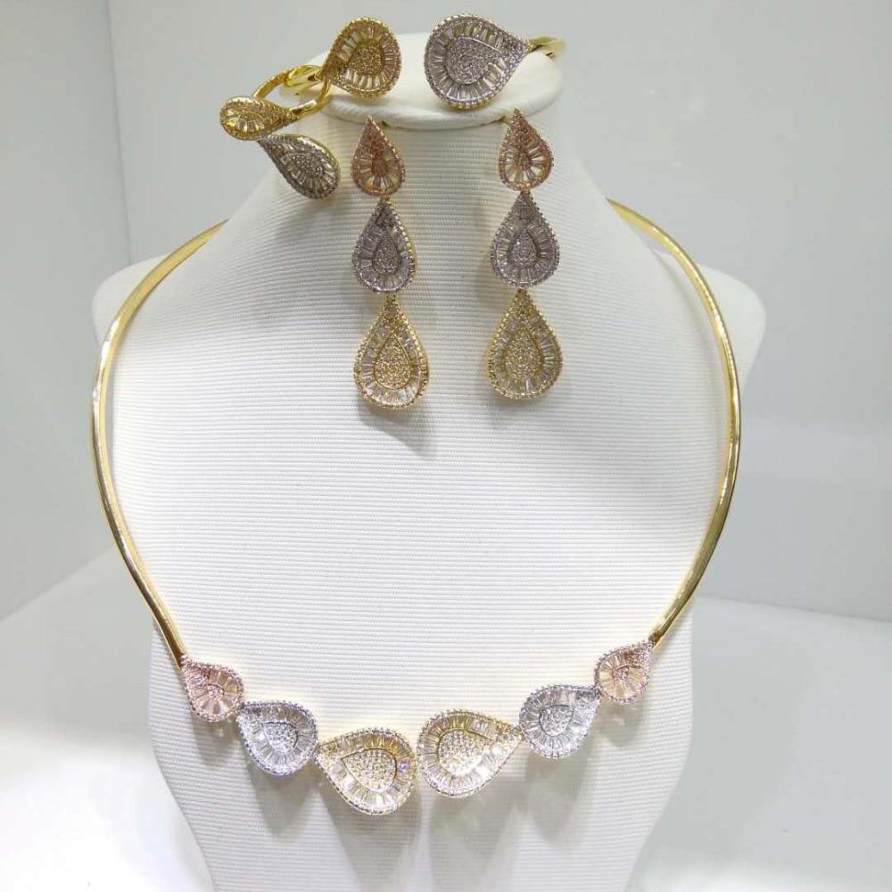 Здесь можно купить  GODKI  Super Shiny Luxury Water Drop Women Bridal Cubic Zirconia Ring Bangle Necklace Earring Dubai Jewelry Set Jewellery Addict  Ювелирные изделия и часы
