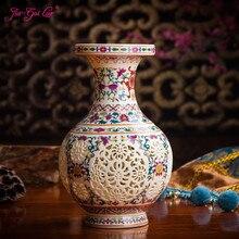 JIA-GUI LUO Ceramic vase hollow retro Chinese flower arrangement dried storage home decoration C043