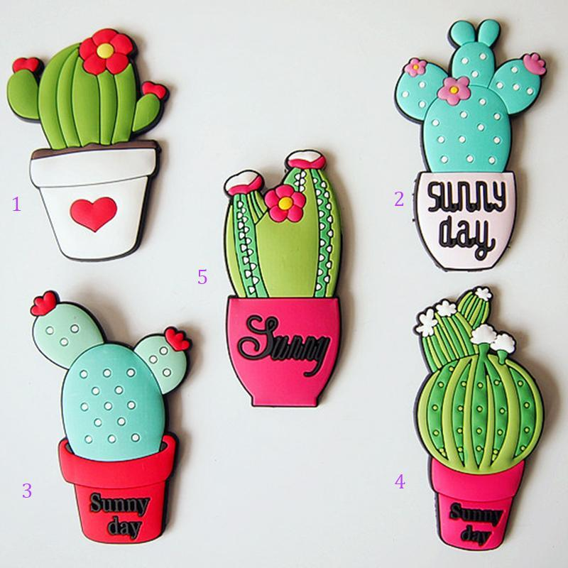 1pc succulents plant shape fridge magnets cute simulate green cactus decorative refrigerator souvenir sticker kitchen decor 3 in wall stickers from home