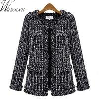 Wmwmnu New Autumn Winter Womens Woolen Jacket Coat 2017 Fashion Patchwork Jackets Mixed Color Outerwear Slim