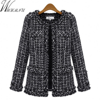 Wmwmnu Autumn winter women jacket Slim thin checkered Tweed coat Large size casual O Neck Plaid Jacket with pocket outwear ls462