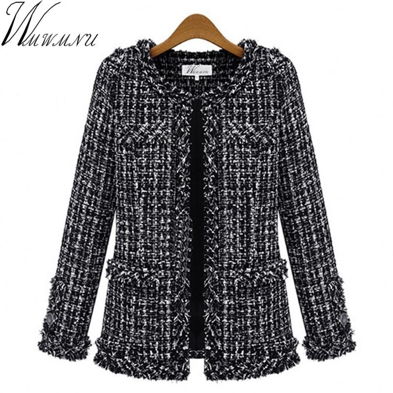 Wmwmnu Otoño invierno chaqueta de las mujeres Delgado delgado a cuadros Tweed capa de gran tamaño casual O-cuello chaqueta a cuadros con bolsillo outwear ls462