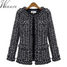 Wmwmnu осенне-зимние женские куртки тонкий клетчатый твидовое пальто большой размер Повседневная o-образным вырезом клетчатая куртка с карманом верхняя одежда ls462