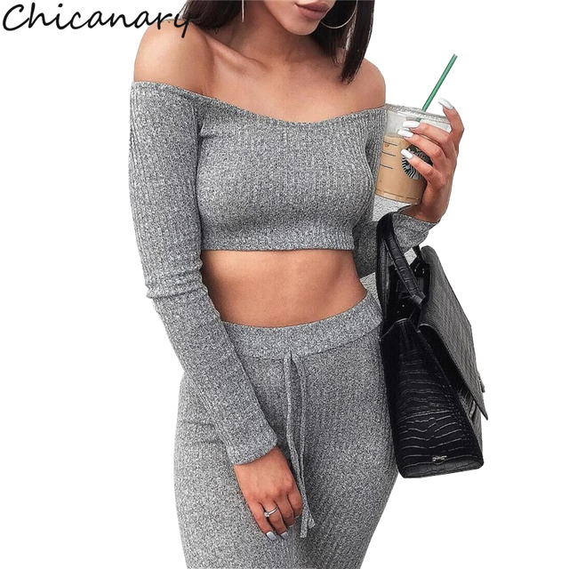 196aded9556 Chicanary Off Shoulder Ribbed Sexy Two Piece Set Women Fall Long Sleeve  Striped Crop Top and Set Pants Set Casual Tracksuit