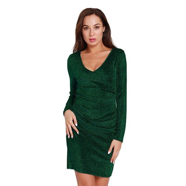 Autumn Winter V neck Dress Long Sleeve Slim Black Gray Blue Green Dress 1